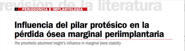 Artículo Influencia del Pilar Protésico