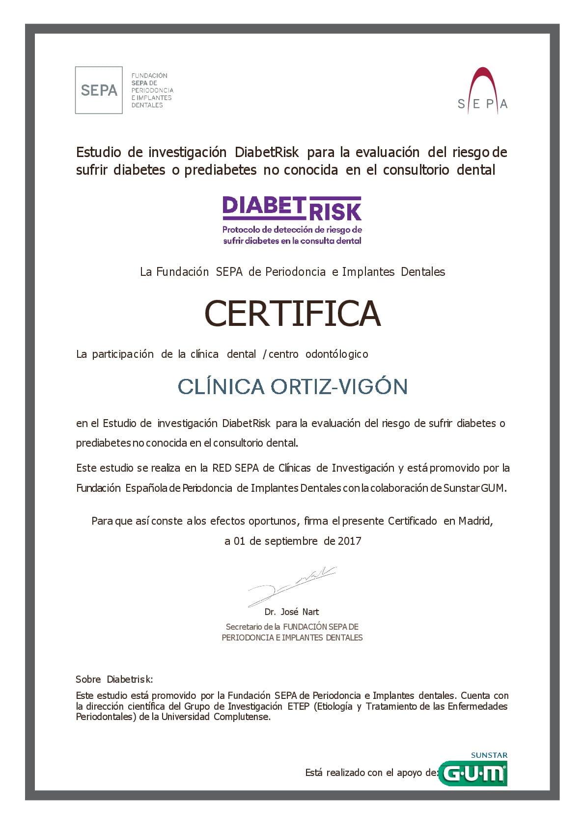 Certificado DIABETRISK, estudio para la deteciión precoz de la diabetes